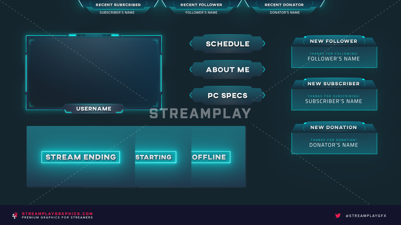 animated twitch stream package in blue